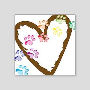 "Paw Heart Square Sticker 3"" x 3"""