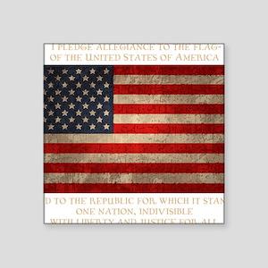 """flag-pledge-DKT Square Sticker 3"""" x 3"""""""