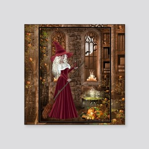 """Witch with Candle Square Sticker 3"""" x 3"""""""