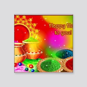 "Happy Holi Square Sticker 3"" x 3"""