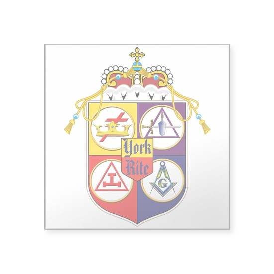 "York Rite Freemason Shield Square Sticker 3"" X 3"" York"