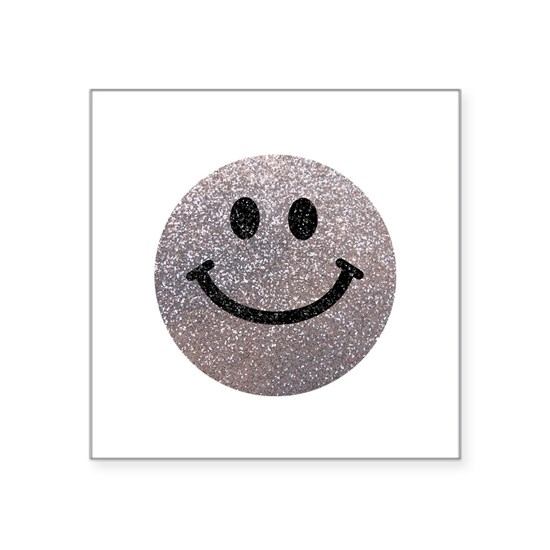 Silver faux glitter smiley face