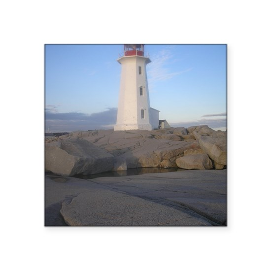 "Lighthouse Warehouse Halifax: Lighthouse Peggys Cove, NS Square Sticker 3"" X 3"" By Admin"