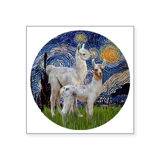 Starry Night with two Baby Llamas