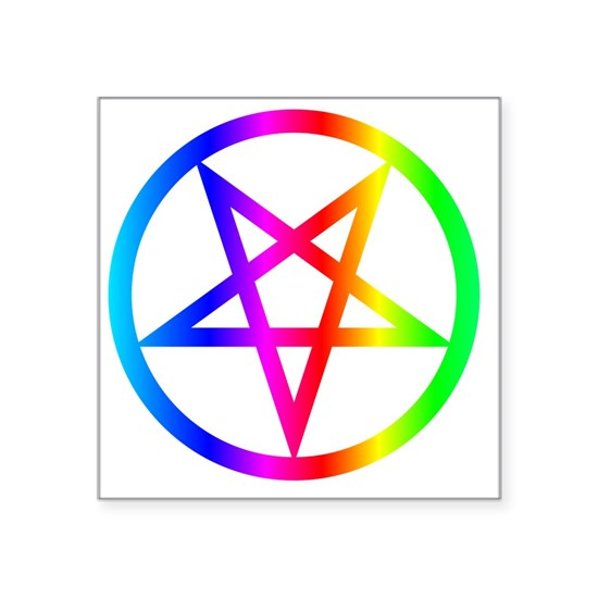 "Rainbow Satanism Symbol Square Sticker 3"" X 3"" By Doc"