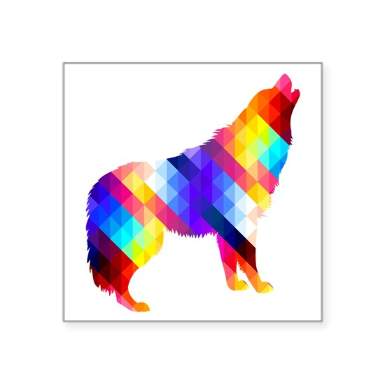 "Geometric Howling Wolf Square Sticker 3"" x 3"" by Shira ..."