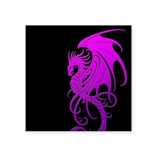 003ec47d7 Flying Tribal Purple Dragon Square Sticker 3