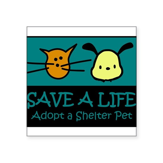 Save a life adopt a shelter pet blue black