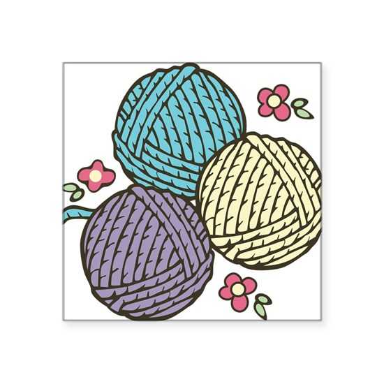 "Travel Towel Bcf: Yarn Trio Square Sticker 3"" X 3"" Yarn Trio Sticker By"