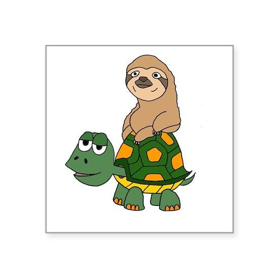 Funny Sloth on Turtle