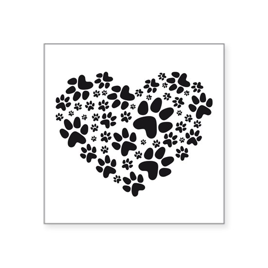 black heart with paws, animal foodprint pattern