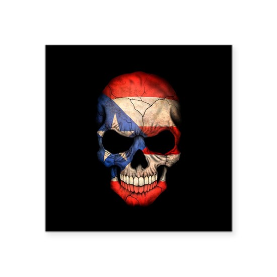 Puerto Rico Flag Skull on Black
