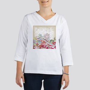 Abstract Floral Women's Long Sleeve Shirt (3/4 Sle