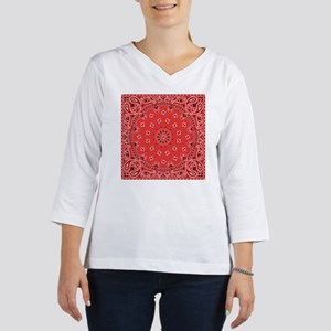 Red Bandana Women's Long Sleeve Shirt (3/4 Sleeve)