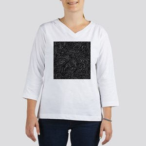 Black Flourish 3/4 Sleeve T-shirt
