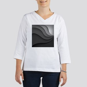Black Abstract 3/4 Sleeve T-shirt