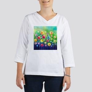 Watercolor Flowers 3/4 Sleeve T-shirt