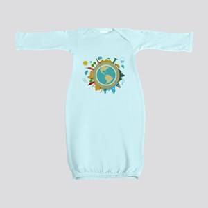 World Travel Landmarks Baby Gown