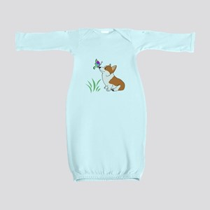 Corgi with butterfly Baby Gown
