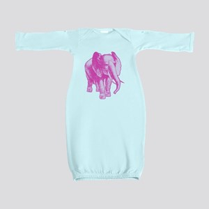 Pink Elephant Illustration Baby Gown
