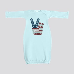 Peace Sign USA Vintage Baby Gown