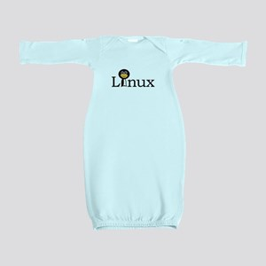 Linux text with funny tux face Baby Gown