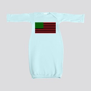 African American Flag - Red Black and Gr Baby Gown