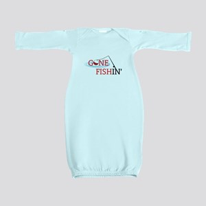 Gone fishing bobber and fishing pole Baby Gown