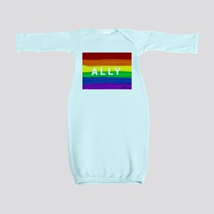 Ally gay rainbow art Baby Gown