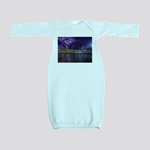 Spacey Chicago Skyline Baby Gown