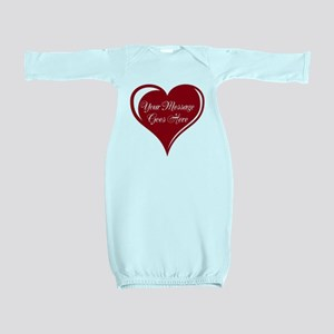 Your Custom Message in a Heart Baby Gown