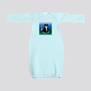 Tuxedo Cat with Flowers Baby Gown