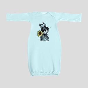 schnauzer-sflower Baby Gown