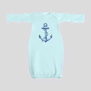 vintage navy blue anchor Baby Gown