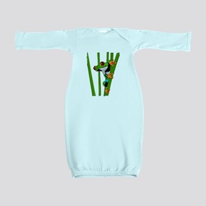Cute frog on grass Baby Gown