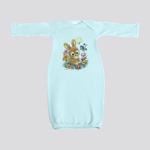 Cute Easter Bunny with Flowers and Eggs Baby Gown