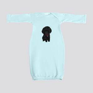 Poodle pup (blk) Baby Gown