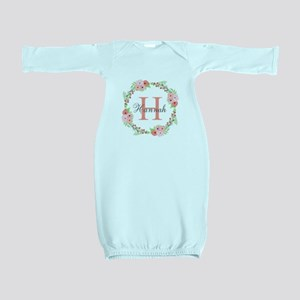 Watercolor Floral Wreath Monogram Baby Gown