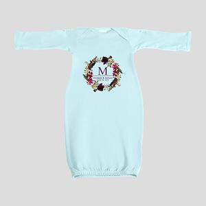 Boho Wreath Wedding Monogram Baby Gown