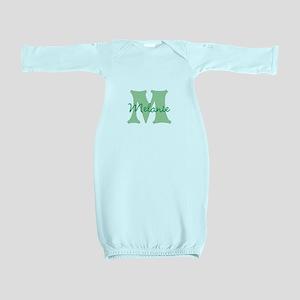 CUSTOM Green Monogram Baby Gown