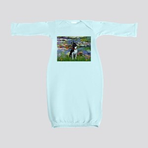 Boston Terrier 2 - Lilies #2 Baby Gown