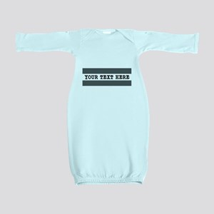 Personalized Gray Striped Baby Gown