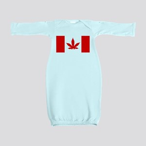 Canadian Weed Flag Red Baby Gown