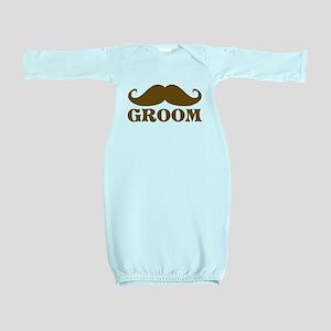 Groom Mustache Baby Gown