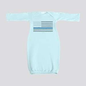 Law Enforcement Blue Line Flag Baby Gown