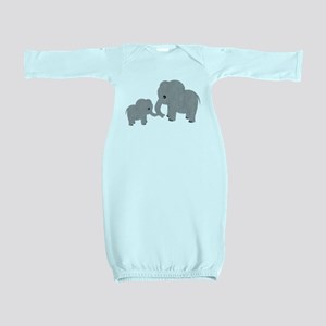 Cute Elephants Mom and Baby Baby Gown
