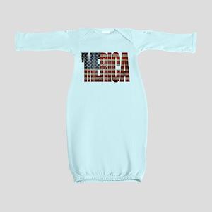 Vintage MERICA U.S. Flag Baby Gown