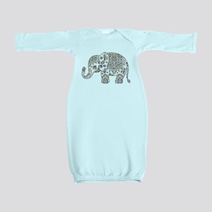 Colorful paisley Cute Elephant Illustrat Baby Gown