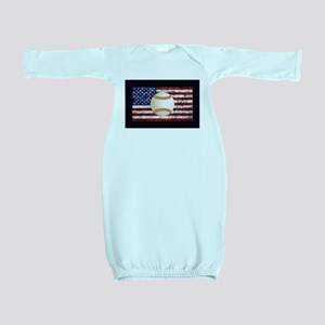 Baseball Ball On American Flag Baby Gown