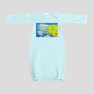 Alaska Map Greetings Baby Gown